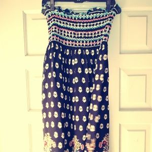 ANNA SUI TUBE-TOP SUNDRESS 100% SILK & FULLY LINED